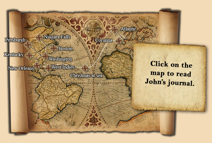 Map of John Hutchinson's journey